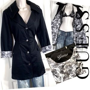Guess Black Trench Coat Rain Jacket with Hoodie